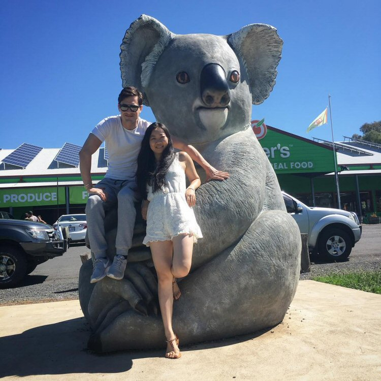 Charlie Siem and Ying Ho, on the road to Canberra.