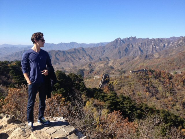 Charlie Siem at the Great Wall of China, October 2012.